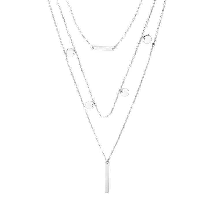 Silver Bars and Coins Layered Pendant Necklace,