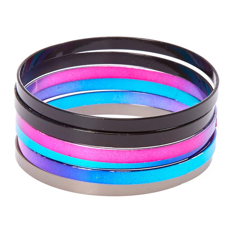 6-Pack Rainbow Ombre Bangle Bracelets,