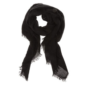 Solid Black Waffle Style Blanket Scarf,