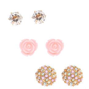 Rose & Iridescent Pavé Mixed Set Earrings,