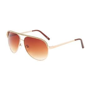 Stacy Gold and Rhinestone Aviator Sunglasses,