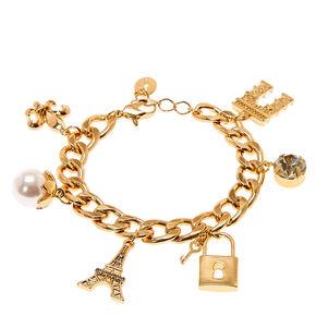 Gold Paris Charm Bracelet,