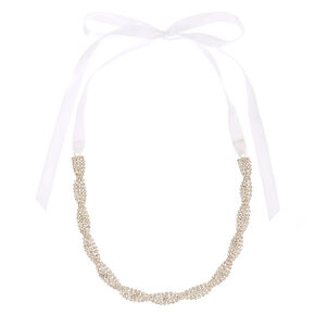 Clear Woven Crystal and White Ribbon Choker Headwrap,