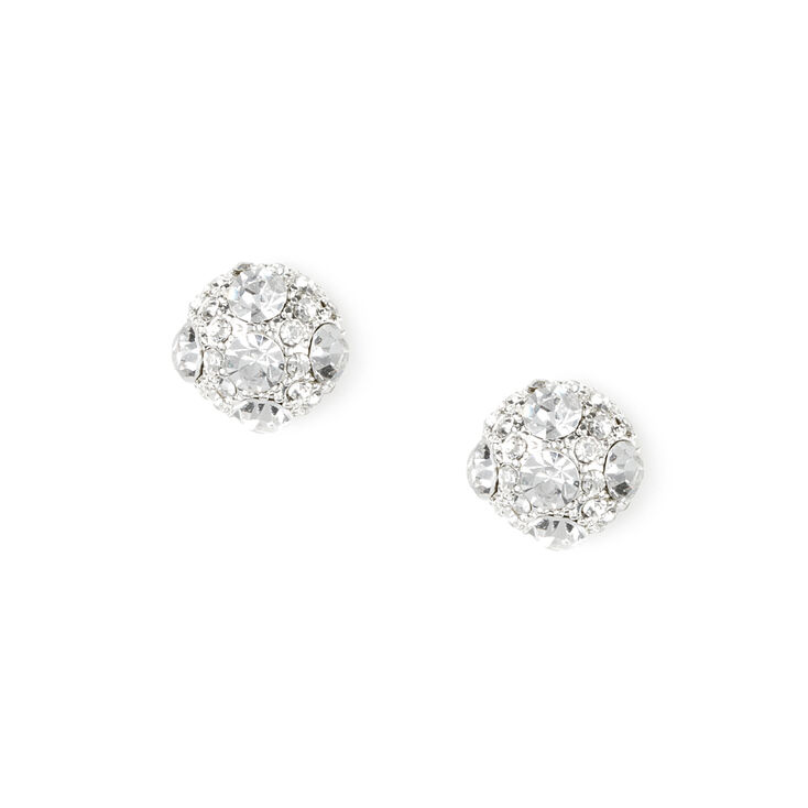 Pavé Crystal Domed Ball Stud Earrings,