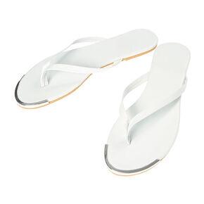 White Silver Tip Flip Flops,