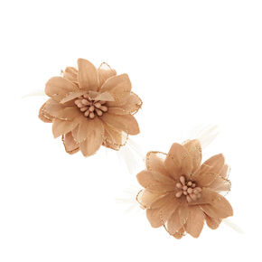 Champagne Lily and Feathers Hair Clips,