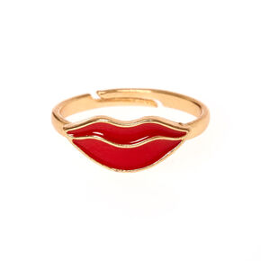 Red Lips Gold Ring,