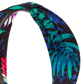 Navy Leaf Print Headband,