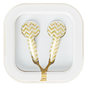 Gold Chevron Earbuds,