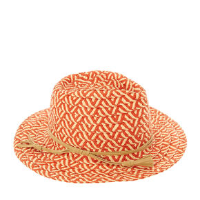 Orange and Nude Aztec Straw Hat,