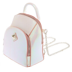 Faux Leather Pink Metallic Sheen Mini Two Way Crossbody Backpack,