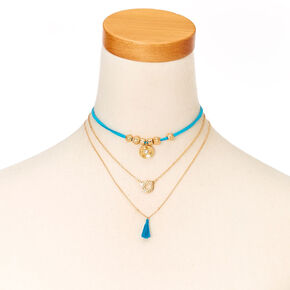 Blue Cord and Gold-tone Chain Choker Necklace,