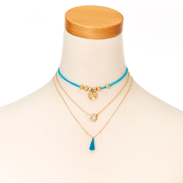 Blue Cord and Gold-tone Chain Choker Necklace at Icing in Victor, NY | Tuggl