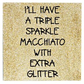 Triple Sparkle Gold Glitter Desk Canvas,