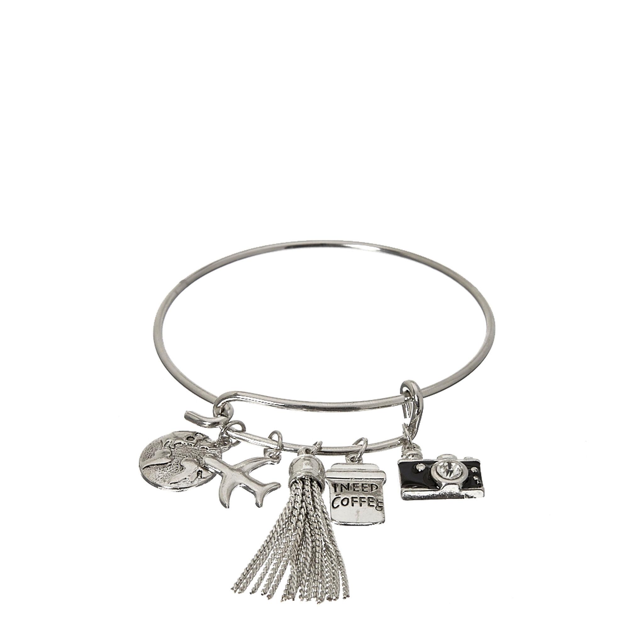 Silver Tone Travel Charm Bangle Bracelet