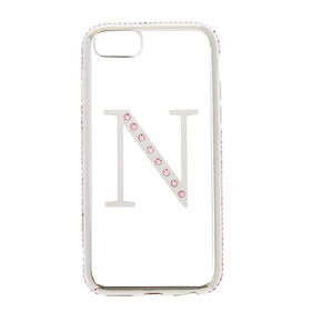 "Pink Stone ""N"" Initial Phone Case,"