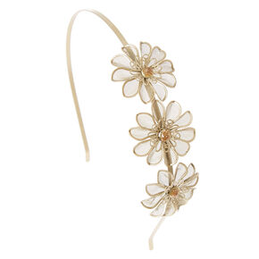 Gold Mesh Flower Headband,
