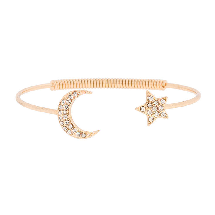 Gold Crystal Moon and Star Open Cuff Bracelet,