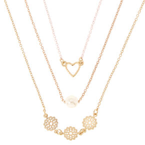 Gold-Tone Triple Layer Heart, Pearl and Filigree Necklace,