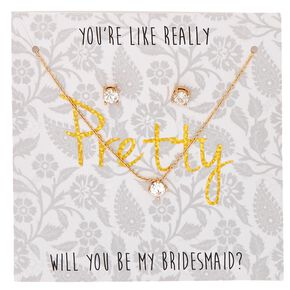 Will You Be My Bridesmaid Gold-tone Faux Crystal Stud Earrings and Necklace Set.,