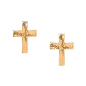 18KT Gold Plated Sterling Silver Cross Stud Earrings,