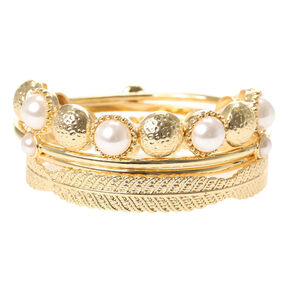 Gold and Pearl Bangle Bracelets,