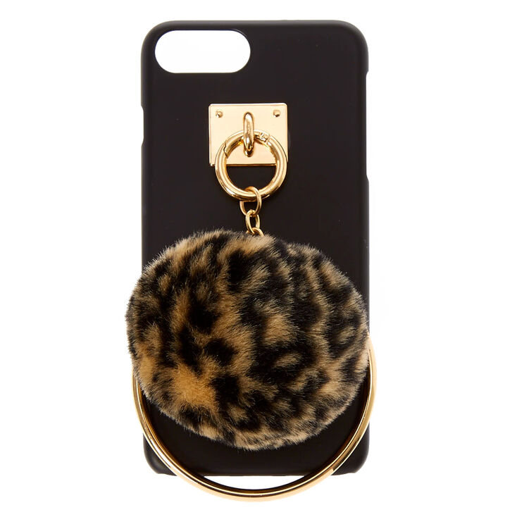 Leopard Pom Pom and Ring Phone Case,