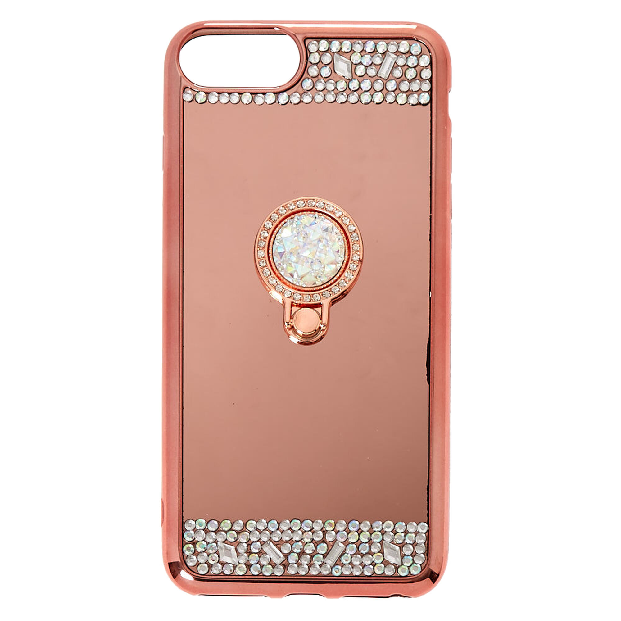 rose gold mirrored ring stand phone case claire 39 s us. Black Bedroom Furniture Sets. Home Design Ideas