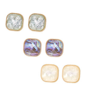 Gold-tone Framed Square Pillowed Faux Gem Stone Stud Earrings,