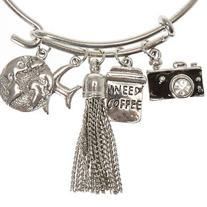 Silver-Tone Travel Charm Bangle Bracelet,