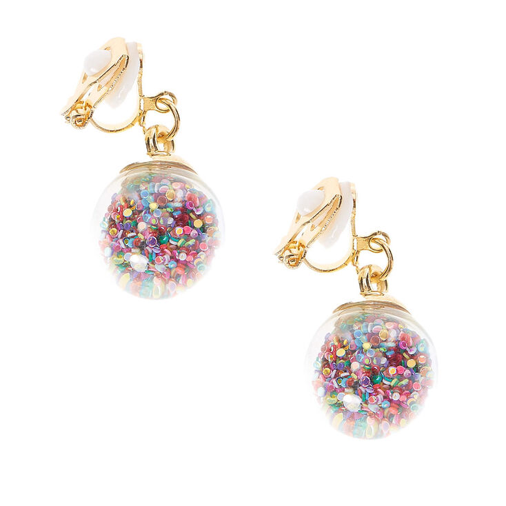 glitter rainbow shaker clip on earrings claires us