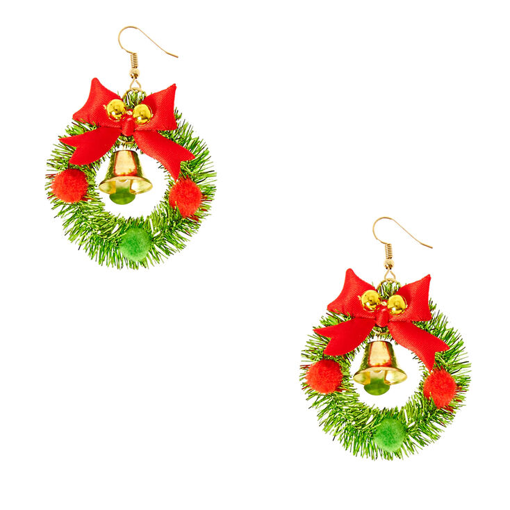Holiday Wreath Jingle Bell Drop Earrings,