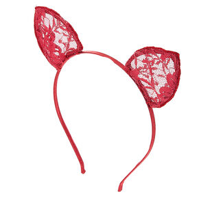 Burgundy Lace Cat Ears Headband,