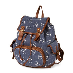 Burlington Navy Canvas with Heart Anchor Print Backpack,
