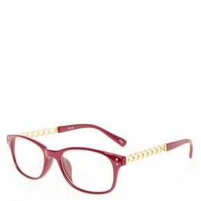 Wine Colored Frames with Gold Chain Arms,
