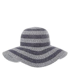 Gray Tinsel Striped Floppy Straw Hat,