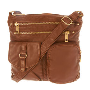 Brown Faux Leather Hudson Crossbody,