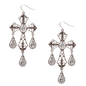 Drop Cross Faux Crystal Earrings,