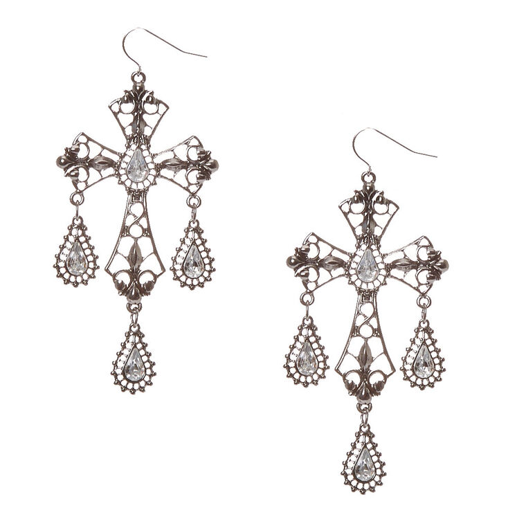 Drop Cross Faux Crystal Earrings at Icing in Victor, NY | Tuggl