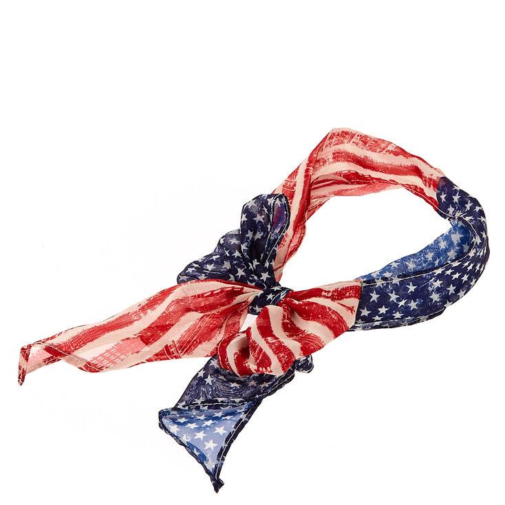 American Flag Chiffon Headwrap,
