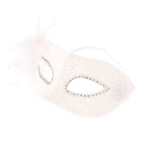 Iridescent White Beads Mask,