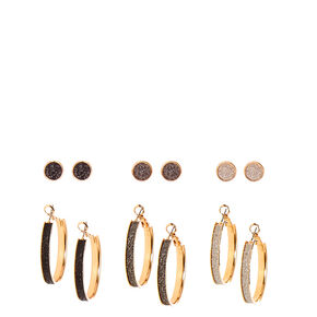 Gold-tone and Glitter Stud and Hoop Earrings,