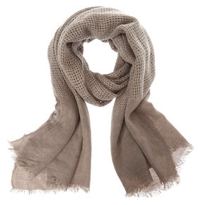 Solid Gray Waffle Style Blanket Scarf,