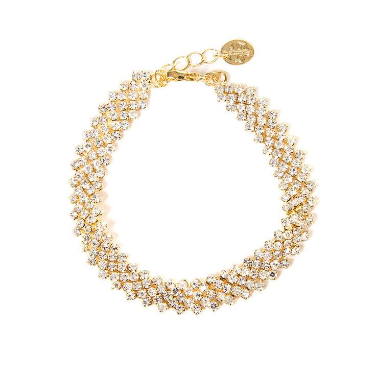 Gold and Rhinestone Zig Zag Bar Bracelet,