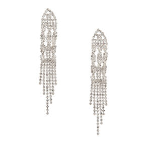 Rhinestone Twist and Fringe Drop Earrings,