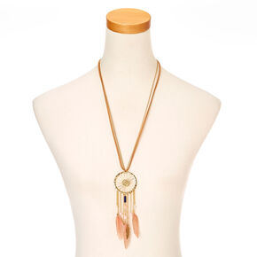 Tan Faux Suede and Gold-tone Dreamcatcher Pendant Necklace,