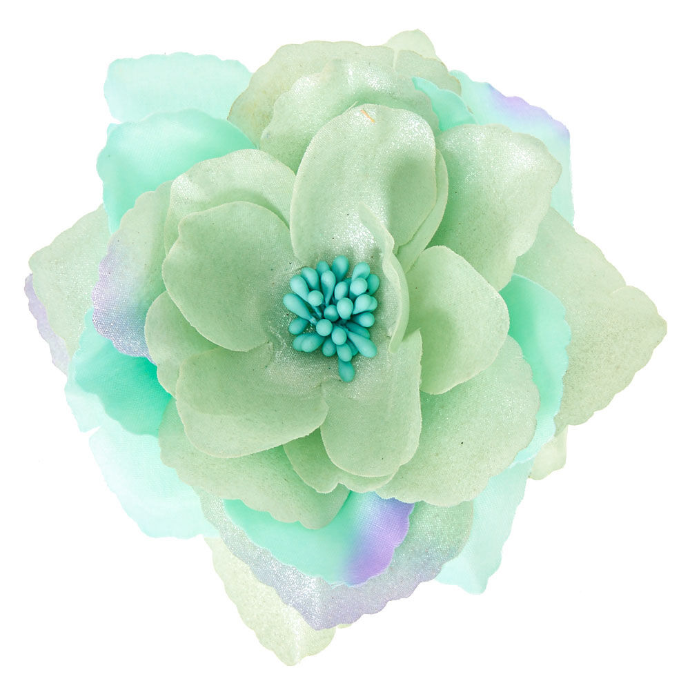 large mint flower hair clip