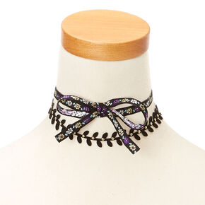 Floral Black and Purple Choker Headwrap,