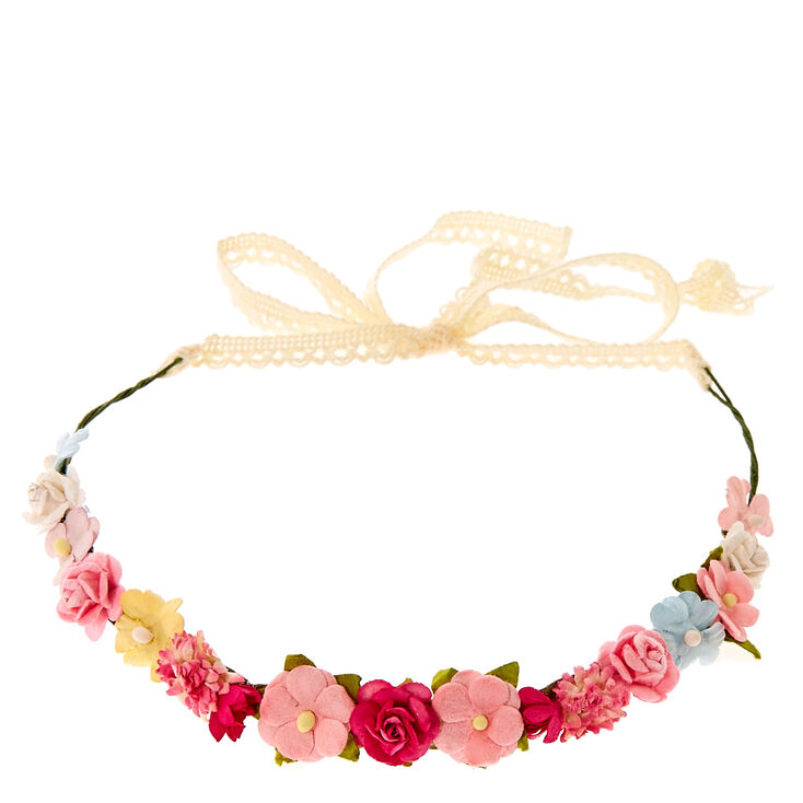 Pink and White Cluster Flower Crown Headwrap,