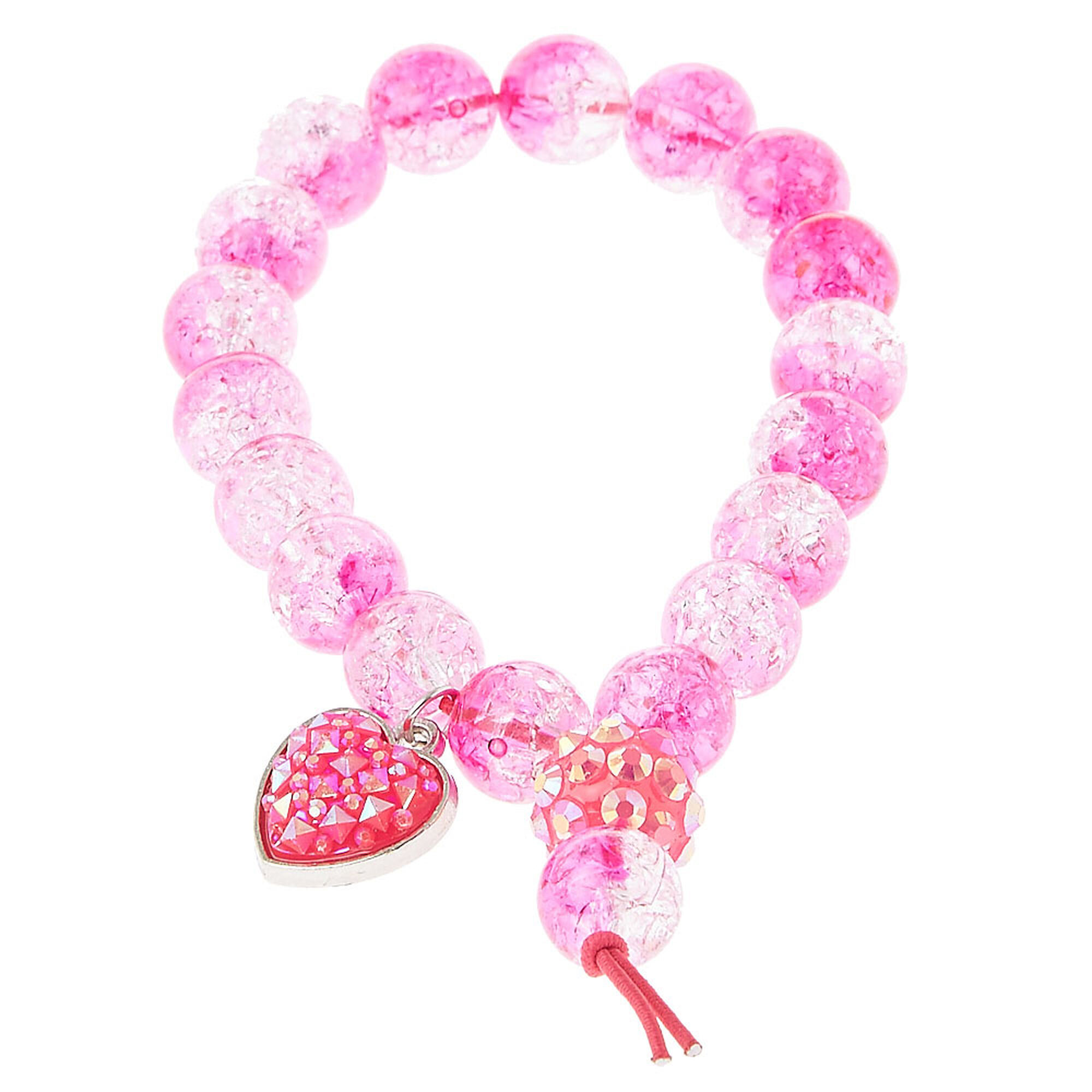 Cracked Pink Bead Stretch Bracelet with Heart Charm
